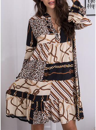 Print/Leopard Long Sleeves Shift Knee Length Casual Tunic Dresses