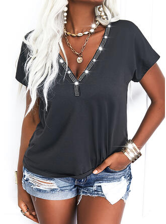 Solid V-Neck Short Sleeves Casual Beaded Blouses