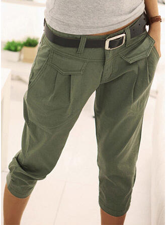 Solid Cotton Capris Casual Vacation Vintage Pocket Shirred Lounge Pants