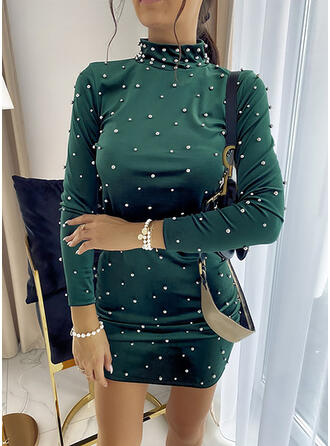 Solid/Beaded Long Sleeves Bodycon Above Knee Casual Dresses