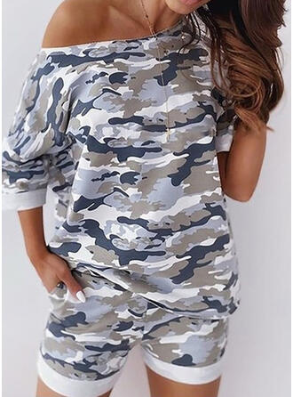 Camouflage Casual Sporty Shorts Suits