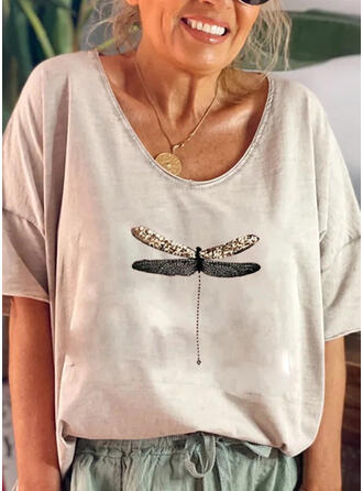 Animal Print Sequins Round Neck 1/2 Sleeves T-shirts