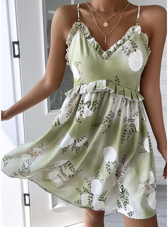 Print/Floral/Backless Sleeveless A-line Above Knee Sexy/Vacation Slip Dresses