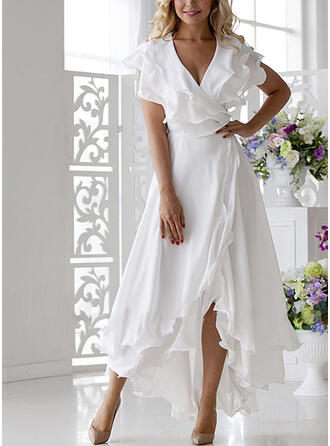 Solid Short Sleeves A-line Asymmetrical Elegant Wrap/Skater Dresses