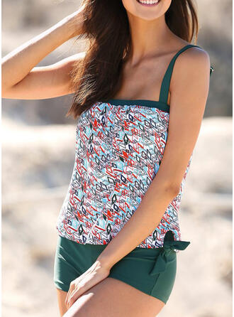 Print Knotted Strap U-Neck Fashionable Casual Tankinis Swimsuits