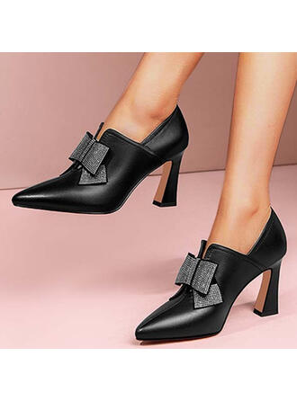 Women's PU Kitten Heel Pumps Closed Toe Low Top Pointed Toe With Rhinestone Bowknot Solid Color shoes