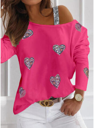 Sequins Heart One-Shoulder Long Sleeves Casual Blouses