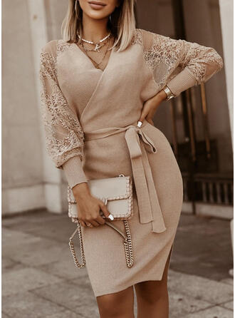 Solid Lace V-Neck Casual Long Tight Sweater Dress