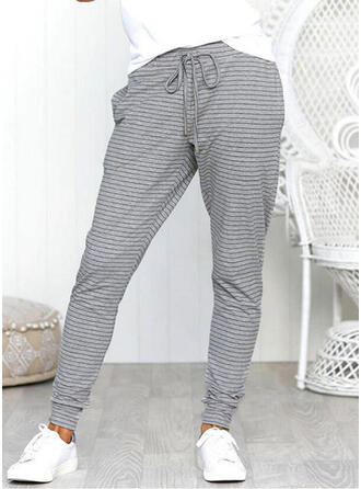Pockets Shirred Long Casual Striped Sporty Pants