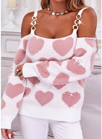 Print Heart Cold Shoulder Casual Sweaters