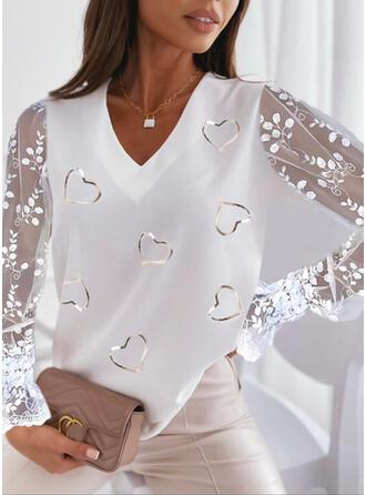 Print Heart Lace V-Neck Long Sleeves Flare Sleeve Casual Blouses