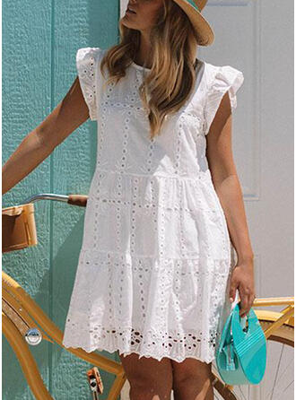 Lace/Solid Cap Sleeve Shift Above Knee Casual Tunic Dresses