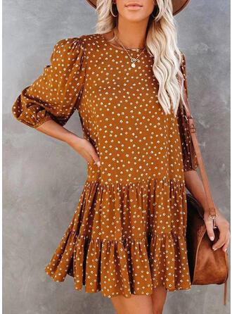 Print/Floral 3/4 Sleeves/Puff Sleeves Shift Above Knee Casual Tunic Dresses