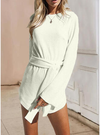 Solid Round Neck Long Sleeves Casual Romper