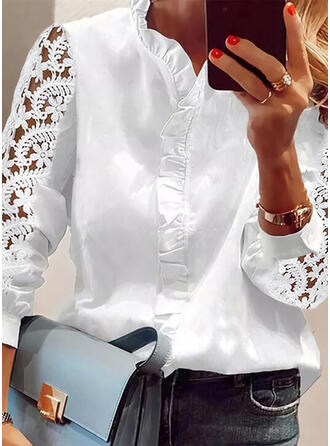 Solid Lace Stand collar 3/4 Sleeves Puff Sleeve Casual Blouses