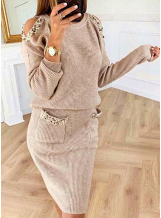 Solid/Beaded Long Sleeves/Cold Shoulder Sleeve Bodycon Knee Length Casual Sweater Dresses