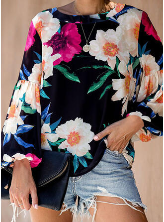 Print Floral Round Neck Long Sleeves Lantern Sleeve Casual Blouses