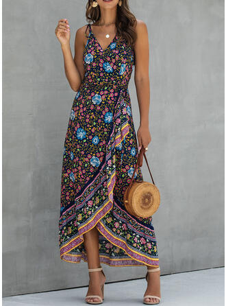 Print/Floral Sleeveless A-line Asymmetrical Casual/Boho/Vacation Slip/Skater Dresses