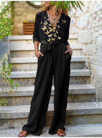Print Butterfly V-Neck Long Sleeves Casual Jumpsuit