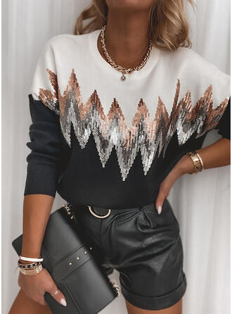 Color Block Sequins Round Neck Casual Sweaters