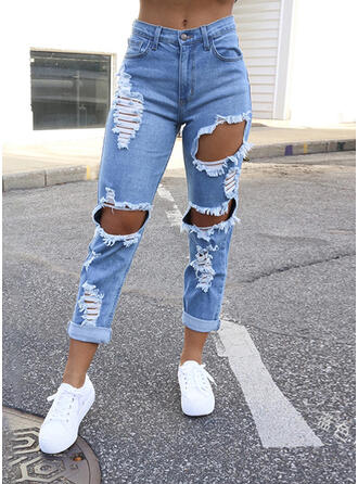 Shirred Ripped Casual Sexy Denim & Jeans