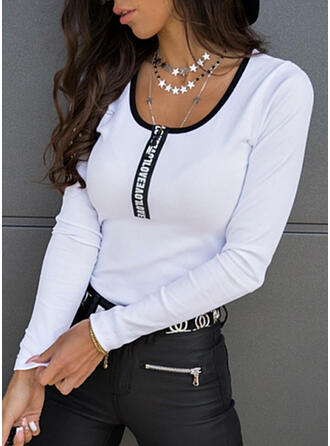 Solid Print Figure Round Neck Long Sleeves Casual Blouses