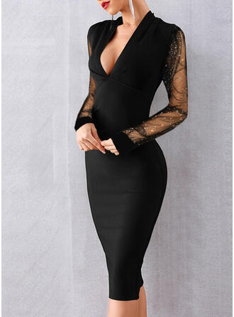 Sequins/Solid Long Sleeves Bodycon Knee Length Little Black/Party/Elegant Pencil Dresses