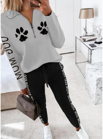 Letter Animal Print Casual Plus Size Sweatshirts & Two-Piece Outfits Set