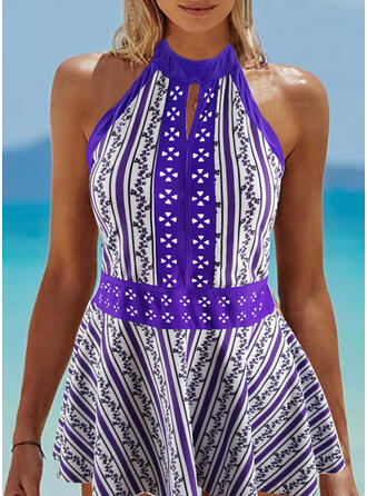 Floral Stripe Print Round Neck Amazing Exquisite Novelty Luxury Tankinis Swimsuits