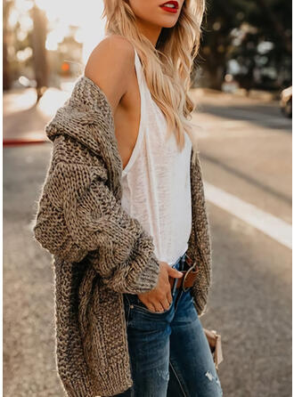 Cotton Blends Long Sleeves Solid Cable-knit Cardigans
