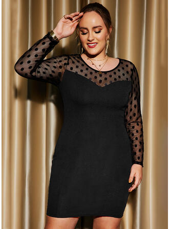 Solid Long Sleeves Sheath Above Knee Little Black/Party/Plus Size Dresses