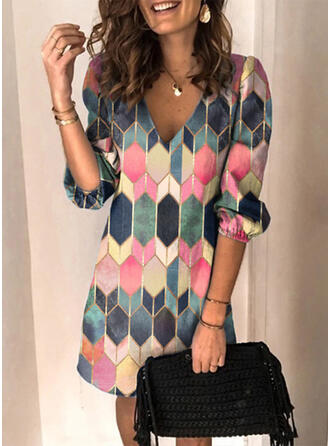 Geometric Print 3/4 Sleeves Shift Above Knee Casual Tunic Dresses