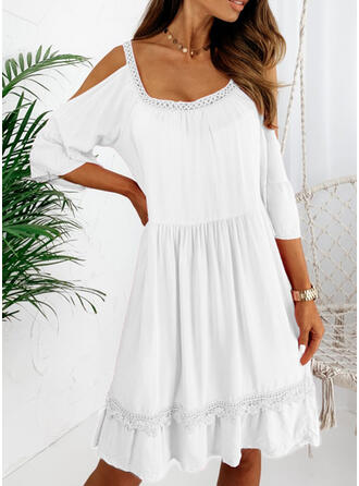 Lace/Solid 3/4 Sleeves A-line Knee Length Little Black/Casual/Vacation Skater Dresses