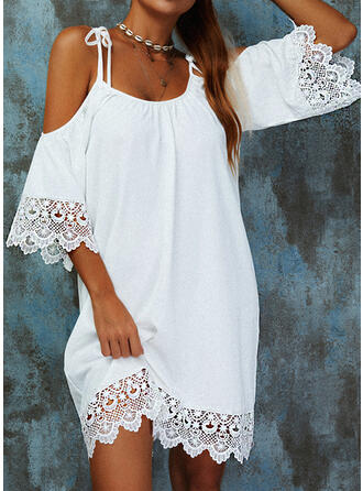 Lace/Solid/Hollow-out 3/4 Sleeves/Flare Sleeves Shift Above Knee Casual Tunic Dresses