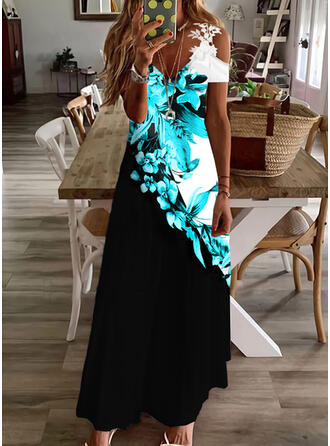 Print/Floral/Color Block Lace Short Sleeves Cold Shoulder Sleeve Shift Casual/Vacation Maxi Dresses