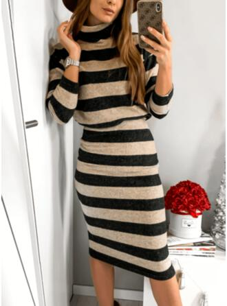 Striped Long Sleeves Bodycon Pencil Casual Midi Dresses