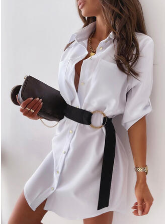 Solid 3/4 Sleeves Shift Above Knee Casual Shirt Dresses