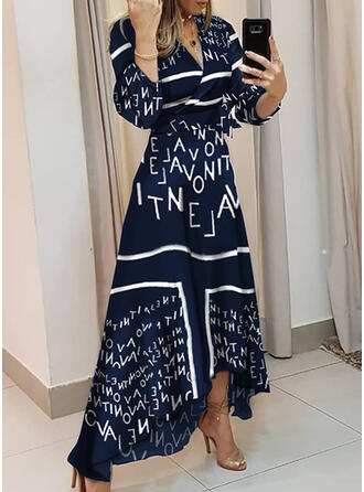 Print Long Sleeves A-line Wrap/Skater Elegant Maxi Dresses