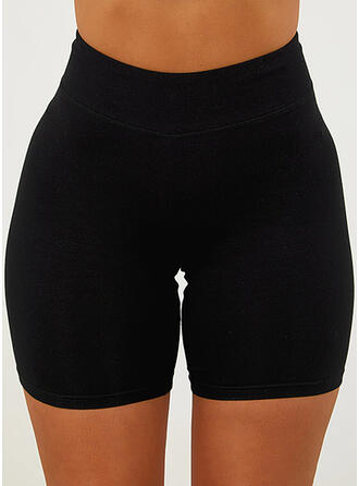 Solid Above Knee Casual Sporty Vacation Plus Size Shorts Leggings