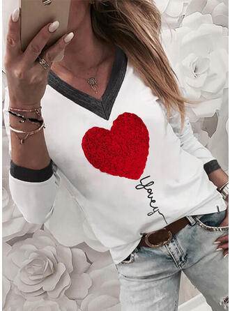Figure Heart Print V-Neck Long Sleeves T-shirts