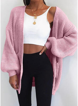 Cotton Blends Acrylic Long Sleeves Solid Pocket Cardigans