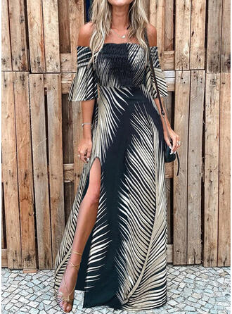 Print 3/4 Sleeves/Flare Sleeves A-line Skater Vacation Maxi Dresses
