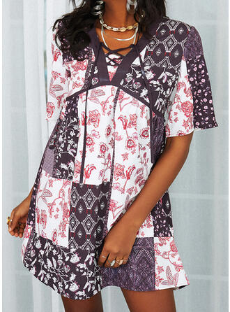 Print/Floral/Patchwork/Lace-up 1/2 Sleeves Shift Above Knee Casual Tunic Dresses