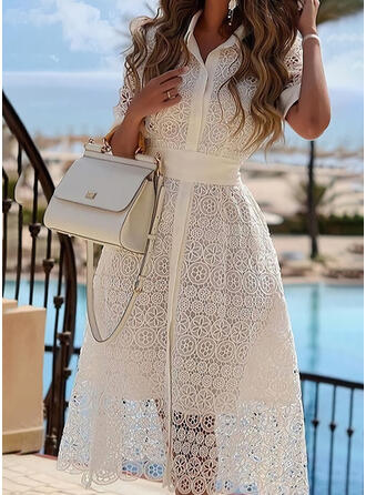 Lace/Solid Short Sleeves A-line Skater Elegant Midi Dresses