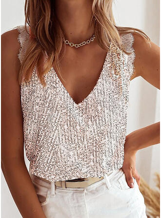 Lace Sequins V-Neck Sleeveless Casual Tank Tops