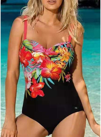 Floral Print Strap Boho One-piece Swimsuits