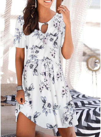 Print/Floral Short Sleeves Shift Above Knee Casual/Vacation Tunic Dresses