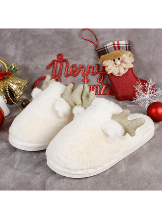 Women's Leatherette Flat Heel Flats Slippers With Applique Animal Print Faux-Fur shoes