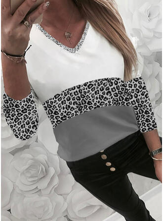 Color Block Sequins Leopard V-Neck Long Sleeves Casual T-shirts