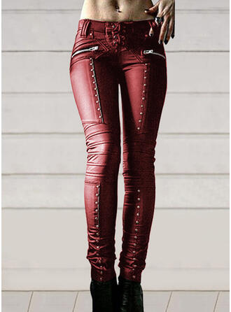 Solid Patchwork Sexy Leather Vintage Pants Leggings
